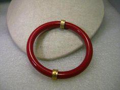 """Vintage Red Plastic With Gold Tone Accent Bangle Bracelet, Rounded, 8"""" #unbranded #banglebracelet"""