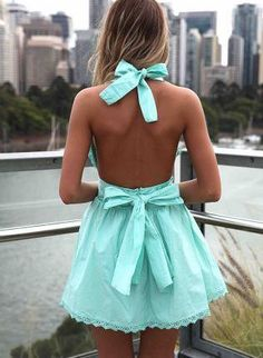 Mint halter dress with bows
