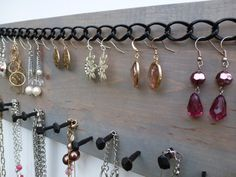 Jewelry Organizer Necklace Holder Earring Storage Display Wall Hanging Rack / Al . - Jewelry Organizer Necklace Holder Earring Storage Display Wall Hanging Rack / Waste Wood & Rustic N - Diy Jewelry Holder, Jewelry Box, Jewelery, Jewelry Making, Jewelry Hanger, Earring Holders, Diy Necklace Holder, Jewelry Wall, Jewelry Stand