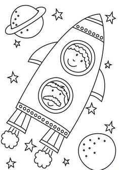 Space Coloring Pages, Coloring Sheets, Coloring Books, Space Preschool, Space Activities, Space Projects, Space Crafts, Space Party, Space Theme