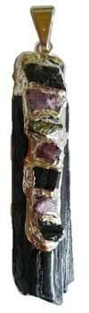 Black Tourmaline 7 Chakra Rough Pendant-https://goo.gl/v5NMYD  #awesomesauce