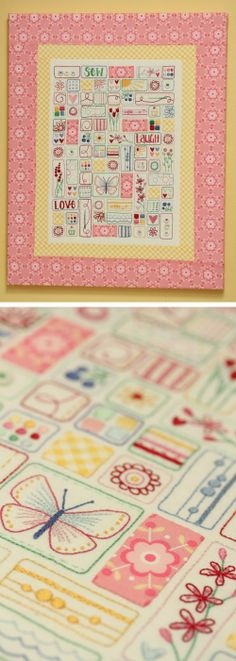 A fun embroidery sampler, 'Sew, Laugh, Love' pattern available #textile