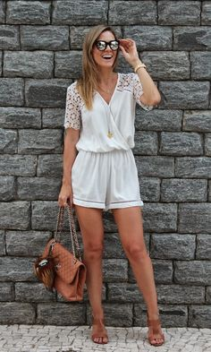 Moda it - Look: Macaquinho Summer Outfits, Casual Outfits, Cute Outfits, Fashion Outfits, Long Romper, Long Sleeve Romper, Rompers Women, Jumpsuits For Women, Romper Outfit