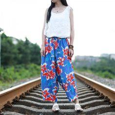 Ladylike Flowers Printed Baggy Trousers Linen Comfortable Wide Leg Pants    #blue #trousers #pants #comfortable #baggy #woman #fashion