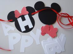 DIY Minnie Mouse with Red Bow Happy Birthday by FeistyFarmersWife, $13.00
