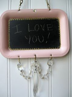 vintage tray turned chalkboard, great idea for my vintage trays. Silver Platters, Silver Trays, Homemade Crafts, Diy And Crafts, Arts And Crafts, Reduce Reuse Recycle, Blackboards, Vintage Crafts, Pink Love