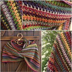 Ravelry: Stashbuster Blarf (Rectangular Shawl) pattern by Esther Sandrof Poncho Au Crochet, Pull Crochet, Crochet Shawls And Wraps, Crochet Scarves, Crochet Crafts, Crochet Yarn, Crochet Clothes, Crochet Stitches, Crochet Projects