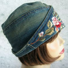 Womens Stonewashed Blue Jean Hat With Large Embroidered And Beaded Brim Stylish Flapper Girl Meets Blue Jean Chic. Embroidered stonewashed denim jeans are the fashion rage, why not an embroidered blue jean hat!  Fits head sizes 21- 23 teen- adult women. A fashionable hat perfect for women undergoing chemo therapy or hair loss, covers the entire head and. Or, just a fun bad hair day hat.  Ready to ship. Wash by hand in cool water, and lay flat to dry. Fabric is 100% cotton- pre shrunk.  find…
