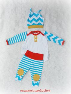 AWESOME Baby Boy Coming Home Outfit with Matching Double Beanie Knot Hat Gift Set
