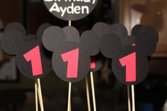 Mickey Mouse with Number Centerpiece Stick 3 by EmelleeGifts, $2.50