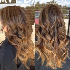 caramel ombré with balayage on brunette hair