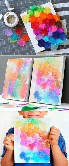 """Experimenta con la """"pintura"""" con papel de seda."""