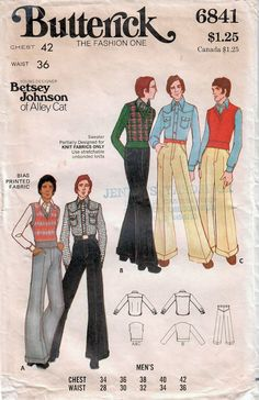 Hip fashion for the guys!: 1970s Butterick 6841 Vintage Sewing Pattern Designer Men's Wide Leg Long Pants, Western Shirt, Sweater, Sweater Vest Size 42 http://etsy.me/2Chqog2 #supplies #sewing #menspantspattern #mensshirtpattern #menssweater #70smenspants #70smensshirt