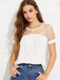 SheIn offers Dotted Mesh Panel Tee & more to fit your fashionable needs. Fast Fashion, Fashion Wear, Cute Fashion, Fashion Online, Fashion Outfits, Dressy Casual Outfits, Cute Outfits, Dress Indian Style, Mode Style