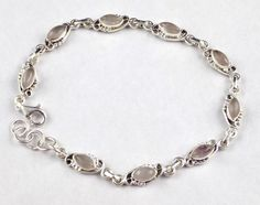"""925 Sterling Silver Natural Rose Quartz 4x8mm Marquise Cabochon Bracelet 8"""" Long #Raagraw"""