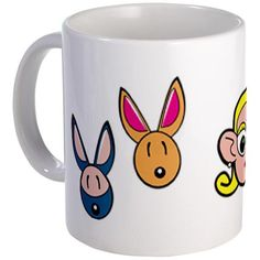 JOEY, KOOKIE, CAPETTE AND FLOCO featured on the perfect size mug for your favorite morning beverage or late night brew. Mug Designs, Beverage, Cartoons, Handle, Ceramics, Mugs, Night, Easy, Shopping