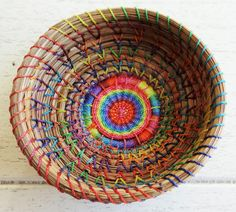 So colorful! The perfect basket for those little things. Rainbow Basket Pine Needle Basket Native American Art Gift For Her Gift For Teen Gift For Him Storage Basket Rainbow Trinket Basket by CruisinCreations on Etsy