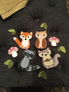 DIY mobile: woodland creatures, felt, toadstool, fox, owl, raccoon, squirrel
