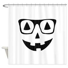 Pumpkin with glasses Shower Curtain