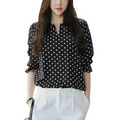 Women's Split Neck Dots Pattern Slipover Casual Blouse