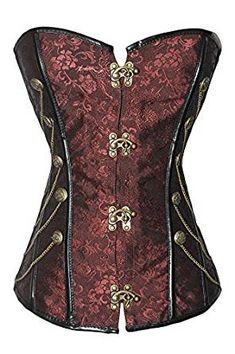 78d006e718 ... Sexy Dark Red Chain Studded Steampunk Gothic Punk Boned Corset-as shown  in the picture-S. Intimates   Sleep Size (Women s) S M L XL XXL. Style Lace  Up.