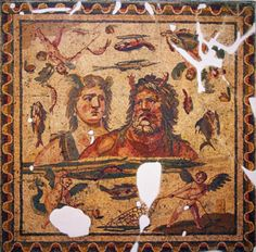 Oceanus and Thetis mosaic .Lovely details of cupids fishing and all the fish mosaics around. - Antakya ,Turkey