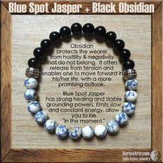 "Blue Spot Jasper has strong healing and stable grounding powers. Emits slow and constant energy, allow you to be ""in the moment"" in the physical body but conscious of your surroundings. Promotes courage, builds inner strength, and brings an air of calmness.  TRANQUILITY: Blue Spot Jasper + Obsidian Yoga Mala Bracelet"