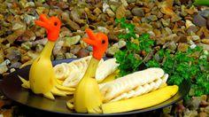 Art In Banana Ducks   Fruit Carving Garnish   Banana Art   Party Garnishing