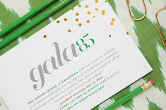 "Project: Gala 85 - invitation design by @Cindy Fontenot Shavings Studio / I like this ""gala"" type! mixed with the high contrast numbers is a little formal though"