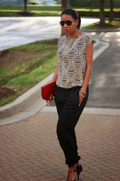 DIY Track pants and silk top-Beaute' J'adore #diyfashion #stylethebump #maternityfashion
