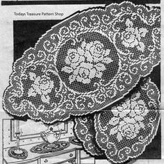 Filet Crochet doilies pattern, Alice Brooks for large and small doilies in two sizes each. The filet crocheted doilies are in a rose spray motif, oval with scalloped edges. Crochet Doily Patterns, Thread Crochet, Crochet Doilies, Crochet Lace, Crochet Hooks, Cross Stitch Embroidery, Cross Stitch Patterns, Fillet Crochet, Crochet Decoration