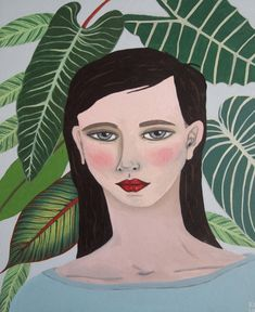 New Blood Art | Portrait with Tropical Leaves by Kitty Cooper | Buy Original Art Online | Artworks by Emerging Artists for Sale