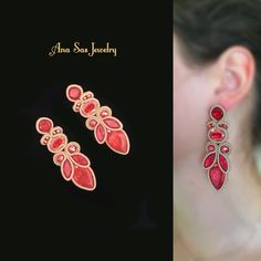 Shibori, Boho Jewelry, Jewelery, Handmade Necklaces, Handmade Jewelry, Soutache Tutorial, Fabric Origami, Soutache Necklace, Earring Trends