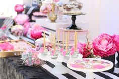 """Copy of You'll want to find a reason to celebrate with our """"Pink Please"""" Rental Collection! Everything here is prepackaged to rent! Black & White Stripes + Pink Peonies + gold accents = LOVE! @inJOYtheParty"""