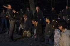 Danai Gurira as Michonne; Michael Cudlitz as Sgt Abraham Ford; Lauren Cohan as Maggie Greene; Andrew Lincoln as Rick Grimes; Sonequa Martin-Green as Sasha; Jeffrey Dean Morgan as Negan Chandler Riggs as Carl Grimes; Josh McDermitt as Dr Eugene Porter – The Walking Dead _ Season 6, Episode 16 – Photo Credit: Gene Page/AMC