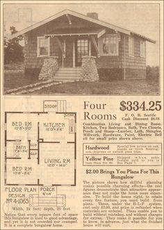 Many great vintage floor plans Small House Plans, House Floor Plans, Vintage House Plans, Craftsman Bungalows, Craftsman Houses, Beach Cottage Style, Tiny Spaces, Cabin Plans, Kit Homes