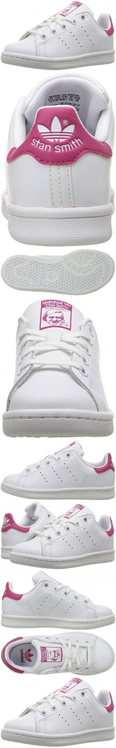 Adidas Originals Girls' Stan Smith C Skate Shoe, White/White/Bold Pink, 2.5 Medium US Little Kid