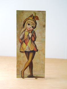 Vintage Maio Big Eyed Girl Litho  Harlequin by lisabretrostyle2
