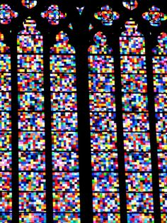 Gerhard Richter, Cologne Cathedral Stained Glass Window, 2007, colored glass. The window measures 20 meters high.