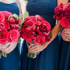 Fuchsia peony and rose bridesmaid bouquets