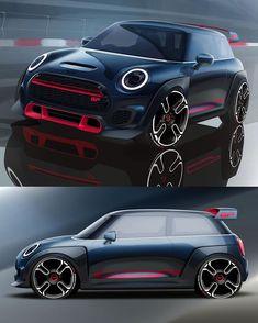 Car Design World on 2020 MINI John Cooper Works GP official sketches Car Design Sketch, Car Sketch, Mini Coper, John Cooper Works, Cute Cars, Modified Cars, Transportation Design, Automotive Design, Sport Cars