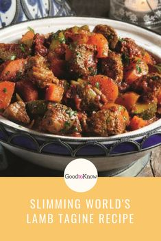 Slimming World's lamb tagine is a guilt-free treat to enjoy at the weekend. This mouth-watering dish is made with tender lamb and packed with flavour Lamb Tagine Recipe, Tagine Recipes, Slow Cooker Recipes, Cooking Recipes, Healthy Recipes, Diet Recipes, Diced Lamb Recipes, Slimming World Recipes Syn Free, Slimming World Stew