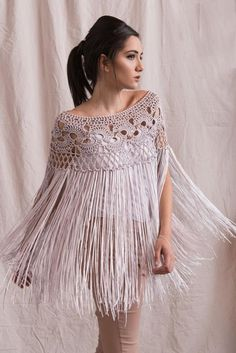 Silk poncho wedding shrug silk crochet poncho silk fringed shawl bridal shrug bridal cover up silk crochet shawl Poncho Au Crochet, Mode Crochet, Crochet Collar, Crochet Blouse, Crochet Lace, Crochet Shrugs, Crochet Sweaters, Cotton Crochet, Crochet Bikini
