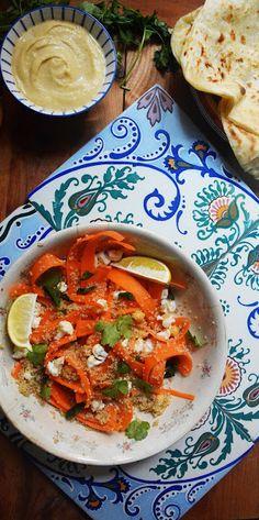 Ensalada de zanahoria y quinoa con hummus o garbanzos