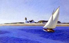"""""""The Long Leg"""" by Edward Hopper depicts a boat sailing against the wind near Provincetown, Mass. It is one of many paintings that the artist dedicated to lighthouses and other aspects of maritime life in New England. It will be used for a stamp by the USPS."""