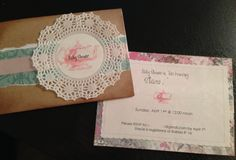 Baby Shower Tea Party Invitations - Shabby Chic / Vintage looking