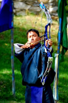 Archery competition, Paro, Bhutan Archery is the national game
