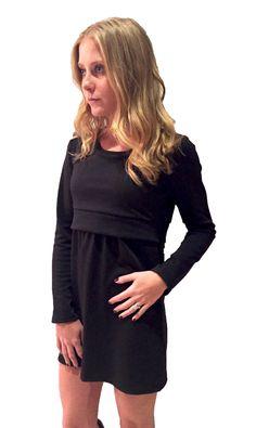 blusón de lactancia manga larga negro. ideal para usarse como vestido o con leggings o jeans www.semillazul.com