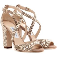 Jimmy Choo Carrie 100 Glitter-Embellished Leather Sandals (3.917.575 COP) ❤ liked on Polyvore featuring shoes, sandals, heels, sapatos, beige, glitter sandals, beige shoes, jimmy choo sandals, embellished heel shoes and embellished shoes