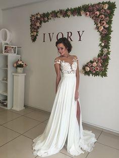 long chiffon wedding dress ,short sleeves wedding dress ,cheap wedding dress ,beach wedding dresses,slit wedding dress ,WD1701